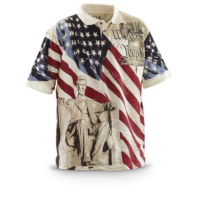 Guide Gear Men's Americana Polo Shirt, Abraham Lincoln