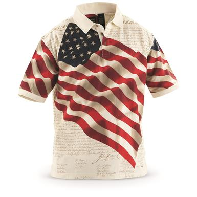 Guide Gear Men's Americana Polo Shirt, Full Flag