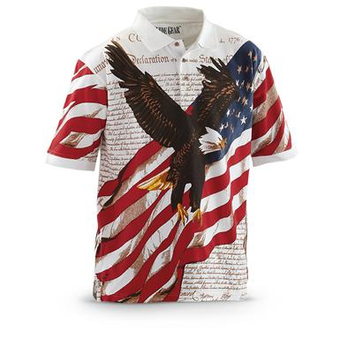 Guide Gear Men's Americana Polo Shirt, Eagle Soaring
