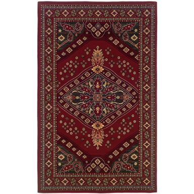 Linon Gem Heriz Red and Green Area Rug