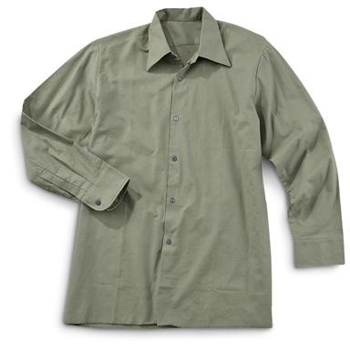 4 New Czech Military Surplus Work Shirts, Olive Drab