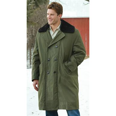 New Russian Military Surplus Wool-lined Sherpa Trench Coat, Olive Drab