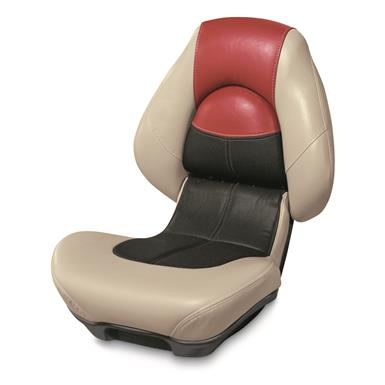 Wise Blast-Off Series Centric 2 Folding Boat Seat, Mushroom/Black/Red