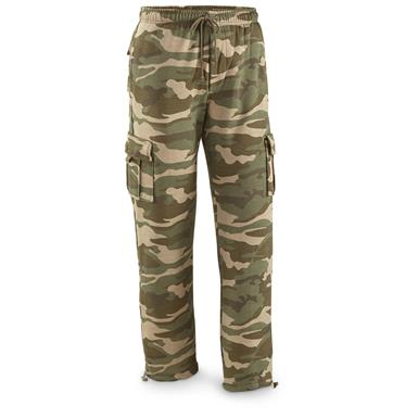 Guide Gear Men's Cargo Sweatpants, Woodland Camo, Woodland