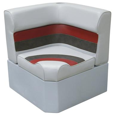 Wise® Deluxe Corner Pontoon Seat, Grey / Red / Charcoal