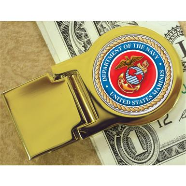 American Coin Treasures® Goldtone Moneyclip with Colorized Marines Washington Quarter