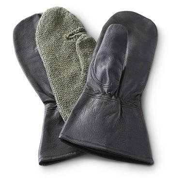 New Swedish Military Surplus Mittens with Wool Liner, Black