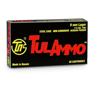 TulAmmo, 9mm Luger, FMJ, 115 Grain, 1,000 Rounds
