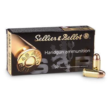 Sellier & Bellot, .45 caliber, ACP, FMJ, 230 Grain, 500 Rounds