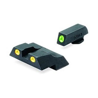 Meprolight® Tru-Dot® ML-10226 Fixed Front / Rear Sights for Glock 26 & 27, Green / Yellow