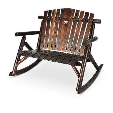 Country Star Rocking Bench; Solid Wood