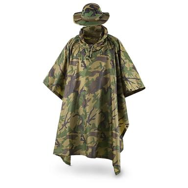 Fox Men's Tactical Ripstop Military Rain Poncho and Boonie Cap Set, Woodland Camo