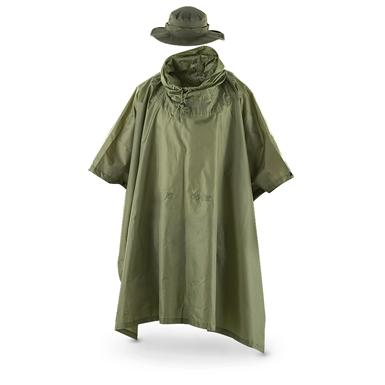 Fox Men's Tactical Ripstop Military Rain Poncho and Boonie Cap Set, Olive Drab