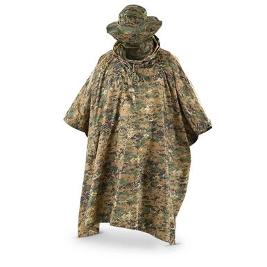 Fox Men's Tactical Ripstop Military Rain Poncho and Boonie Cap Set, Digital Woodland