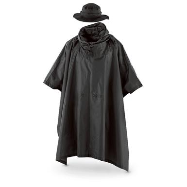 Fox Men's Tactical Ripstop Military Rain Poncho and Boonie Cap Set, Black