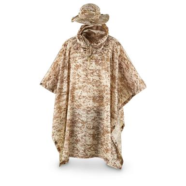 Fox Men's Tactical Ripstop Military Rain Poncho and Boonie Cap Set, Digital Desert