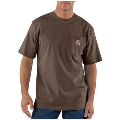 Carhartt Men's Workwear Short-Sleeve Pocket T-Shirt, Slight Irregulars, Dark Brown