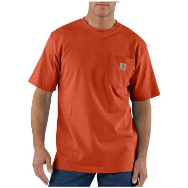 Carhartt Men's Workwear Short-Sleeve Pocket T-Shirt, Slight Irregulars, Red / Orange