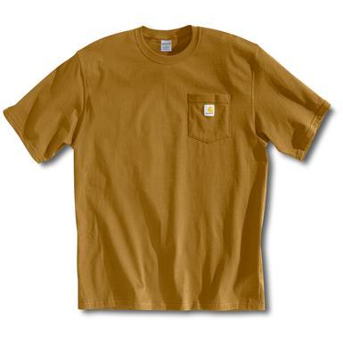 Carhartt Men's Workwear Short-Sleeve Pocket T-Shirt, Slight Irregulars, Brown