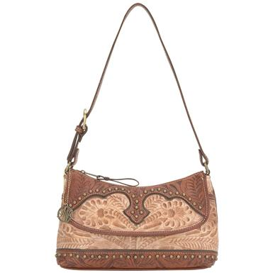 American West® Appaloosa Ranch Hand-tooled Shoulder Bag