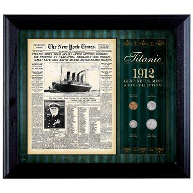 New York Times Titanic 1912 Framed Coin Collection, 4 coins