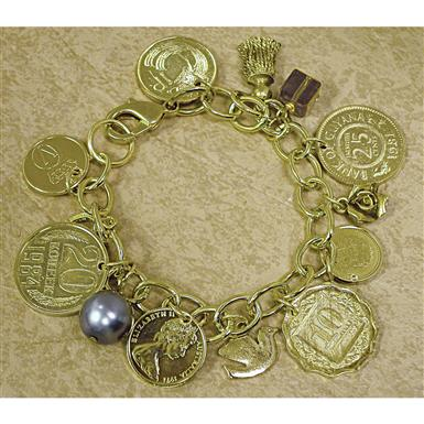 Gold-layered Foreign Coins Charm Bracelet from American Coin Treasures