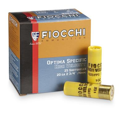 "Fiocchi® 20 Gauge 2 3/4"" 1 ozs. High Velocity Loads, 25 Rounds"