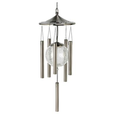 Solar-powered Lighted Wind Chimes, Pewter