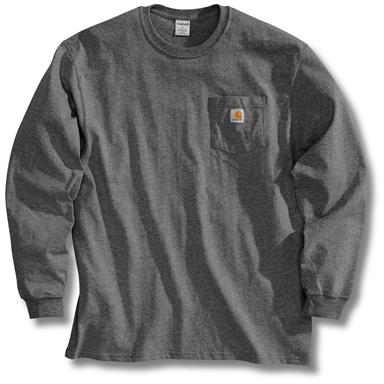 Men's Carhartt Workwear Long-Sleeve Pocket T-Shirt, Charcoal