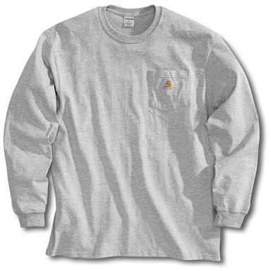 Men's Carhartt Workwear Long-Sleeve Pocket T-Shirt, Heather Grey