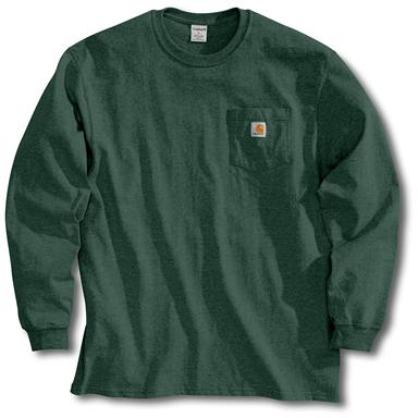 Men's Carhartt Workwear Long-Sleeve Pocket T-Shirt, Hunter Green