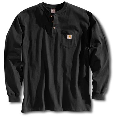 Carhartt® Long-sleeved Pocket Henley Shirt, Black