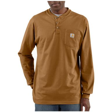 Carhartt® Long-sleeved Pocket Henley Shirt, Brown