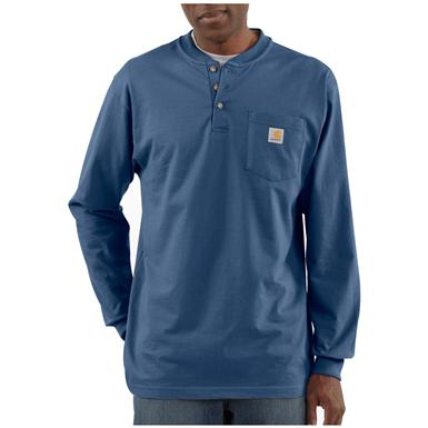 Carhartt® Long-sleeved Pocket Henley Shirt, Royal