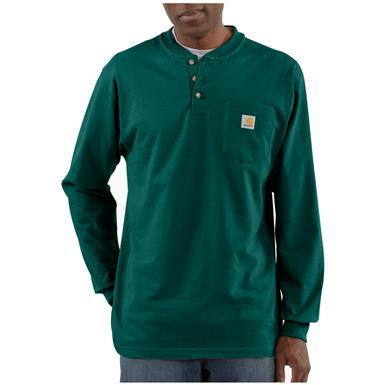 Carhartt® Long-sleeved Pocket Henley Shirt, Hunter Green