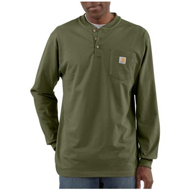 Carhartt® Long-sleeved Pocket Henley Shirt, Army Green