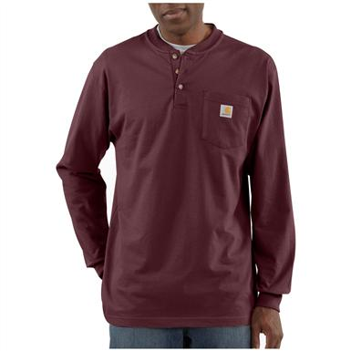 Carhartt® Long-sleeved Pocket Henley Shirt, Port
