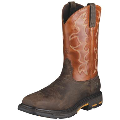 Ariat Men's Workhog Steel Toe Western Work Boots, Dark Earth