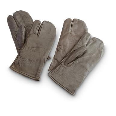 2-Prs. of Used Belgian Military Surplus Leather Shooter's Mittens, Brown