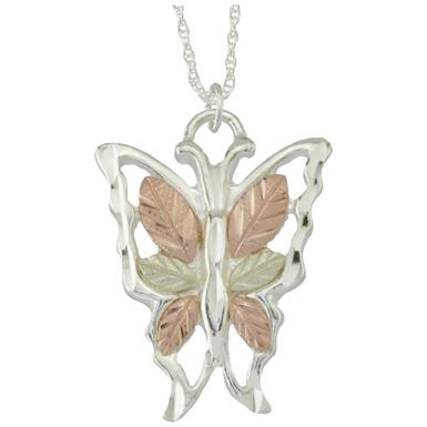 Black Hills Gold by Coleman® Sterling Butterfly Pendant 18 inch Necklace