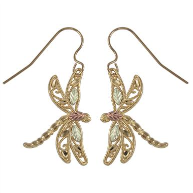 Black Hills Gold by Coleman® 10K Gold Dragonfly Earrings