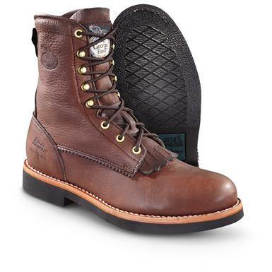 "Men's Georgia Boot® 8"" Lacer Work Boots, Dark Brown"