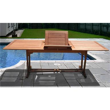 VIFAH® Outdoor Wood Rectangular Extension Table