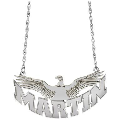 Hampden Sterling Silver Eagle Wings Name Necklace