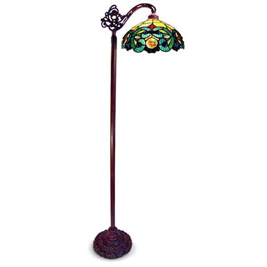 Tiffany style side arm stained glass floor lamp 219670 for Tiffany style floor lamp with side light