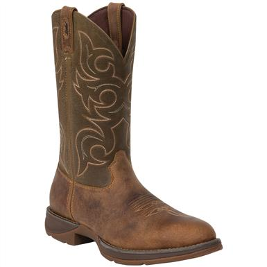 Men's Durango® 12 inch Pull-on Western Boots, Tan / Olive