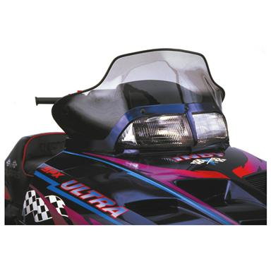 14 inch PowerMadd® Cobra Snowmobile Windshield for Polaris Aggressive Chassis, Tint with Black Accent Graphics