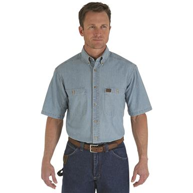 Made with durable, comfortable, 100% cotton chambray, with enzyme-washed finish for softness