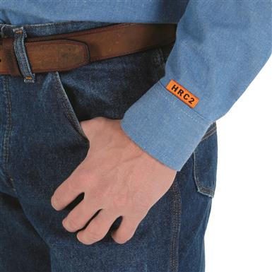Safety orange ID label, Denim