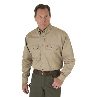 Wrangler® RIGGS Workwear® Men's FR Flame Resistant Work Shirt, Khaki